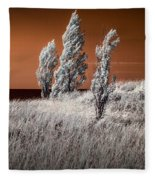 Three Trees  In Infrared On Top Of A Grassy Dune Fleece Blanket