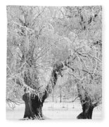 Three Trees In The Snow - Bw Fine Art Photography Print Fleece Blanket