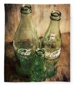 Three Vintage Coca Cola Bottles  Fleece Blanket