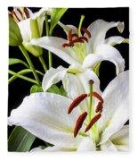 Three White Lilies Fleece Blanket