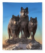 Three Wolves Watching You Fleece Blanket