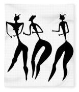 Three Women - Primitive Art Fleece Blanket