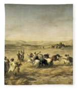 Threshing Wheat In Algeria Fleece Blanket