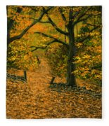 Through The Fallen Leaves Fleece Blanket