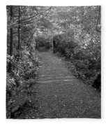 Through The Forest Canopy Black And White Fleece Blanket