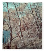 Through The Trees In Infrared Fleece Blanket