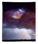 Lightning Thunderstorm Over Dacono Fleece Blanket