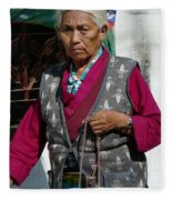 Tibetan Grandmother In Meditation Fleece Blanket