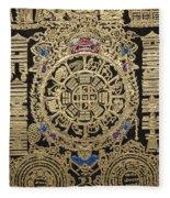 Tibetan Thangka - Tibetan Astrological Diagram Fleece Blanket