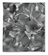 Tibouchina In Black And White Fleece Blanket
