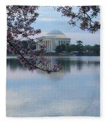 Tidal Basin Blossoms - Jefferson Memorial Fleece Blanket