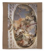 Tiepolo Palacio Real The Apotheosis Of The Spanish Monarchy Giovanni Battista Tiepolo Fleece Blanket