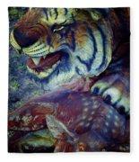 Tiger And Deer Fleece Blanket
