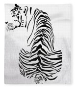 Tiger Animal Decorative Black And White Poster 4 - By  Diana Van Fleece Blanket