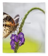Tiger Butterfly Perched On A Flower Fleece Blanket