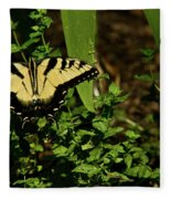 Tiger Butterfly Posing Fleece Blanket