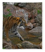 Tiger Crossing Poster Fleece Blanket