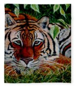 Tiger In Jungle Fleece Blanket