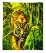 Tiger In The Forest Fleece Blanket