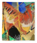 Tiger In The Jungle By Franz Marc Red And Yellow Tiger On The Prowl Fleece Blanket