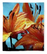 Tiger Lilies After The Rain - Painted Fleece Blanket