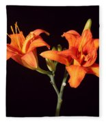 Tiger Lily Flower Opening Part Fleece Blanket
