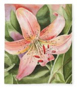 Tiger Lily Watercolor By Irina Sztukowski Fleece Blanket