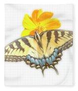 Tiger Swallowtail Butterfly, Cosmos Flower Fleece Blanket