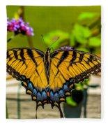 Tiger Swallowtail Butterfly By Fence Fleece Blanket