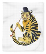 Tiger With Pipe Fleece Blanket