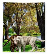 Tigers By The City Fleece Blanket