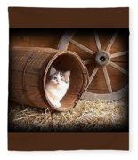 Tiki In The Old Barrel Fleece Blanket