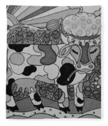 Tile Cow Fleece Blanket
