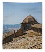 Tile Roof Tops Of Volterra Italy Fleece Blanket