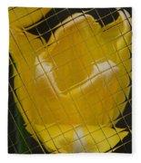 Tiled Yellow Tulip Fleece Blanket