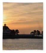 Tilghman Island Marina At Sunrise Fleece Blanket