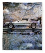 Time Machine Or The Retrofitted Delorean Dmc-12 Fleece Blanket