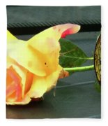 Time To Give A Rose - Yellow And Pink Rose - Clock Face Fleece Blanket
