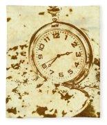 Time Worn Vintage Pocket Watch Fleece Blanket