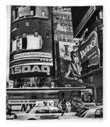Times Square Black And White Fleece Blanket