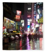 Times Square In The Rain 1 Fleece Blanket