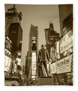 Times Square Ny Overlooking The Square Sepia Fleece Blanket