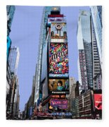 Times Square Nyc Fleece Blanket