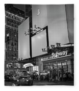 Times Square Subway Stop At Night New York Ny Black And White Fleece Blanket