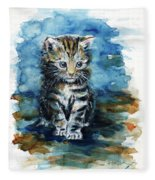 Timid Kitten Fleece Blanket