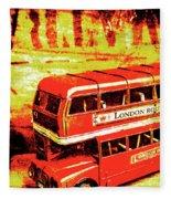 Tin Sign Travels Fleece Blanket