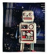 Tin Toy Robots Fleece Blanket