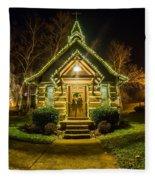 Tiny Chapel With Lighting At Night Fleece Blanket