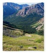 Tiny Hikers On The Mount Massive Summit Fleece Blanket