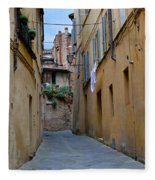 Tiny Street In Siena Fleece Blanket